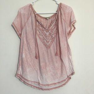Lucky Brand BOHO Chic Pink Ombré Tassel Shirt